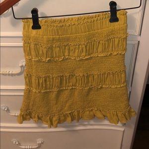 Yellow Smocked Mini Skirt